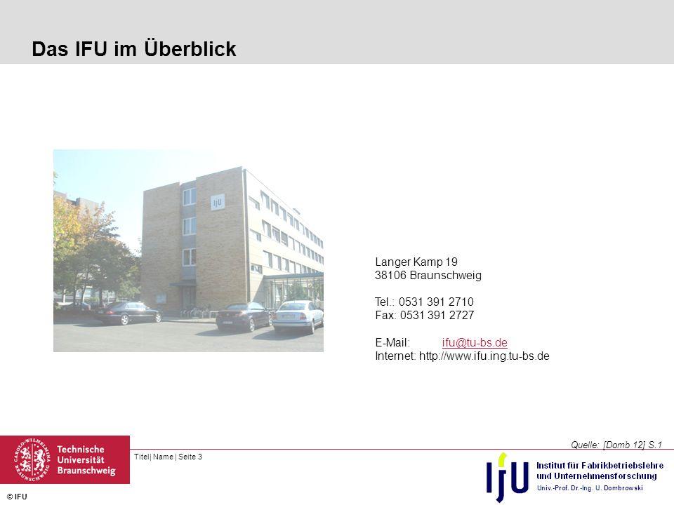 Das IFU im Überblick Langer Kamp 19 38106 Braunschweig