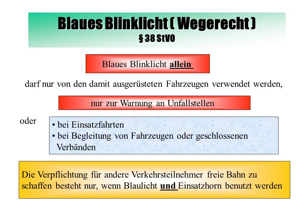 Blaues Blinklicht ( Wegerecht ) § 38 StVO