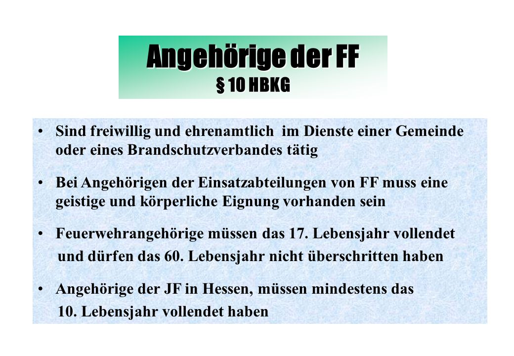 Angehörige der FF § 10 HBKG