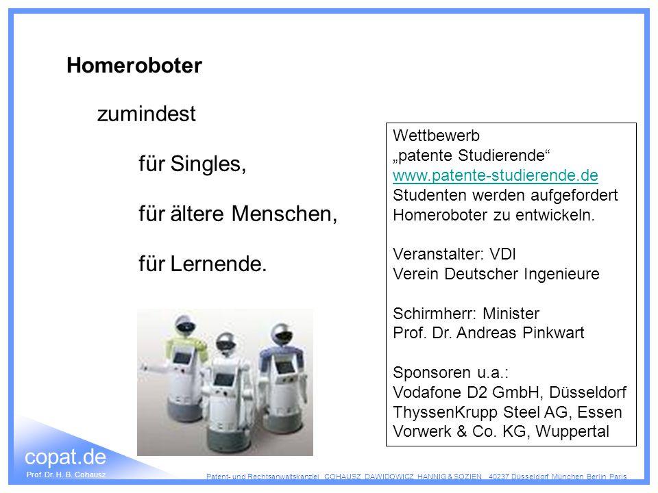 Homeroboter zumindest für Singles, für ältere Menschen, für Lernende.