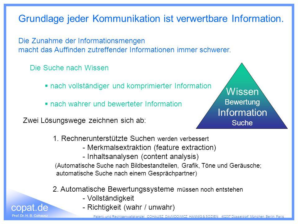 Grundlage jeder Kommunikation ist verwertbare Information.