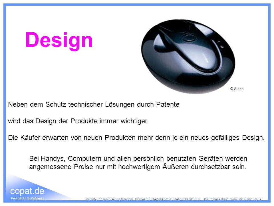 Design Neben dem Schutz technischer Lösungen durch Patente