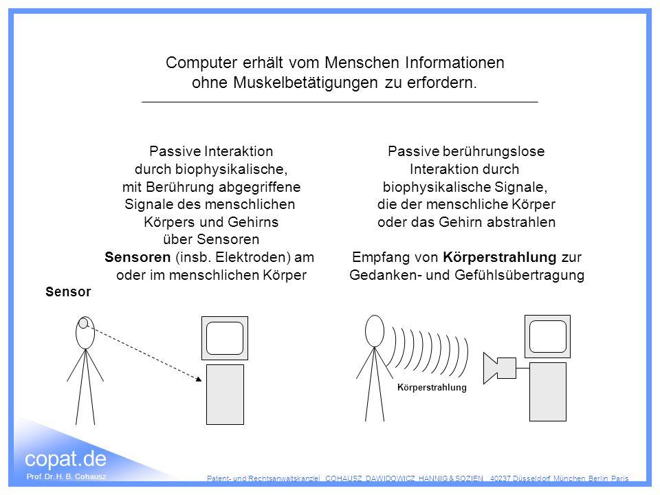 Computer erhält vom Menschen Informationen ohne Muskelbetätigungen zu erfordern.