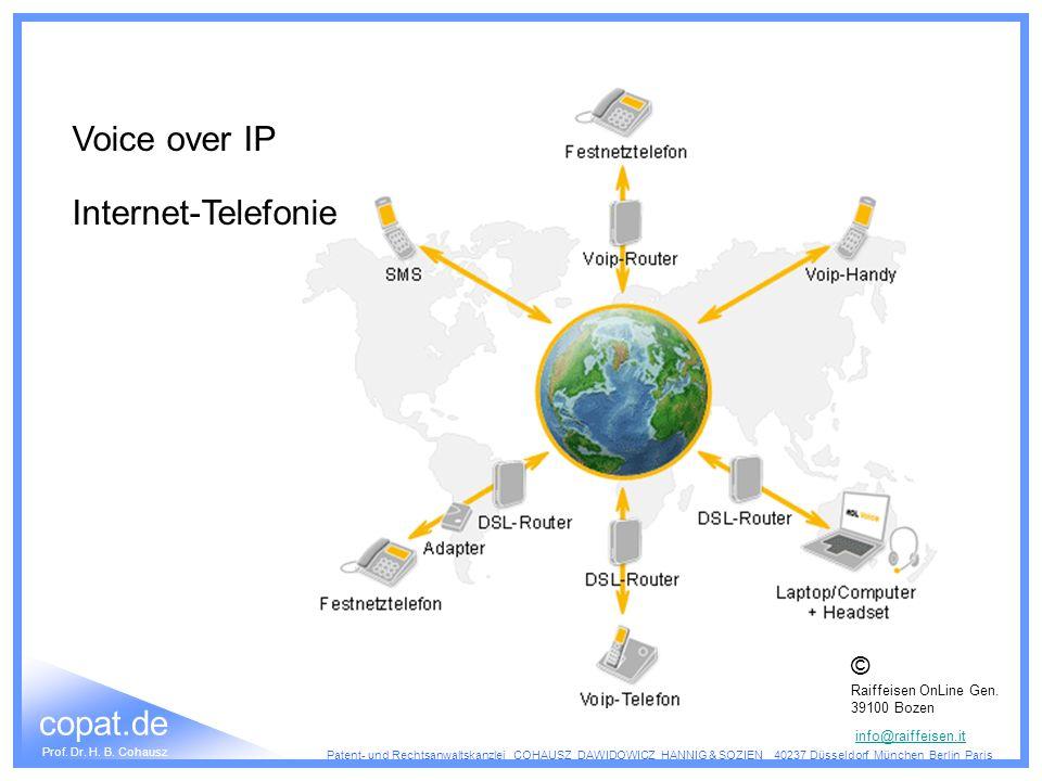 Voice over IP Internet-Telefonie © Raiffeisen OnLine Gen. 39100 Bozen