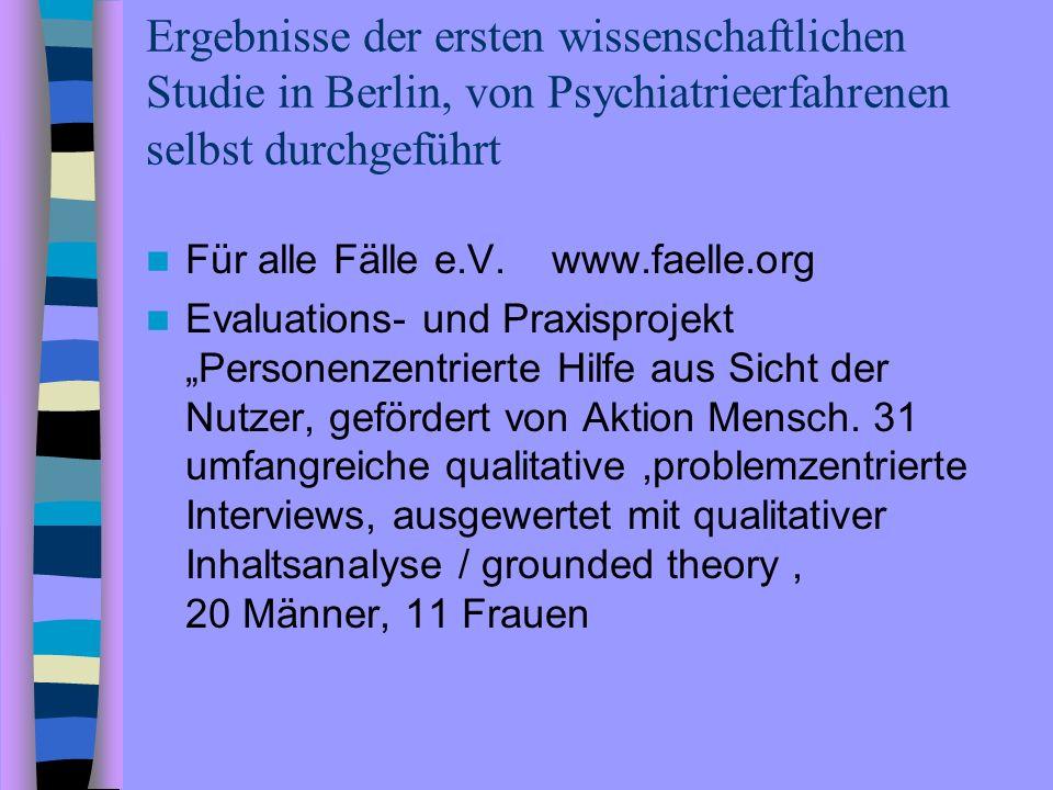 Ergebnisse der ersten wissenschaftlichen Studie in Berlin, von Psychiatrieerfahrenen selbst durchgeführt