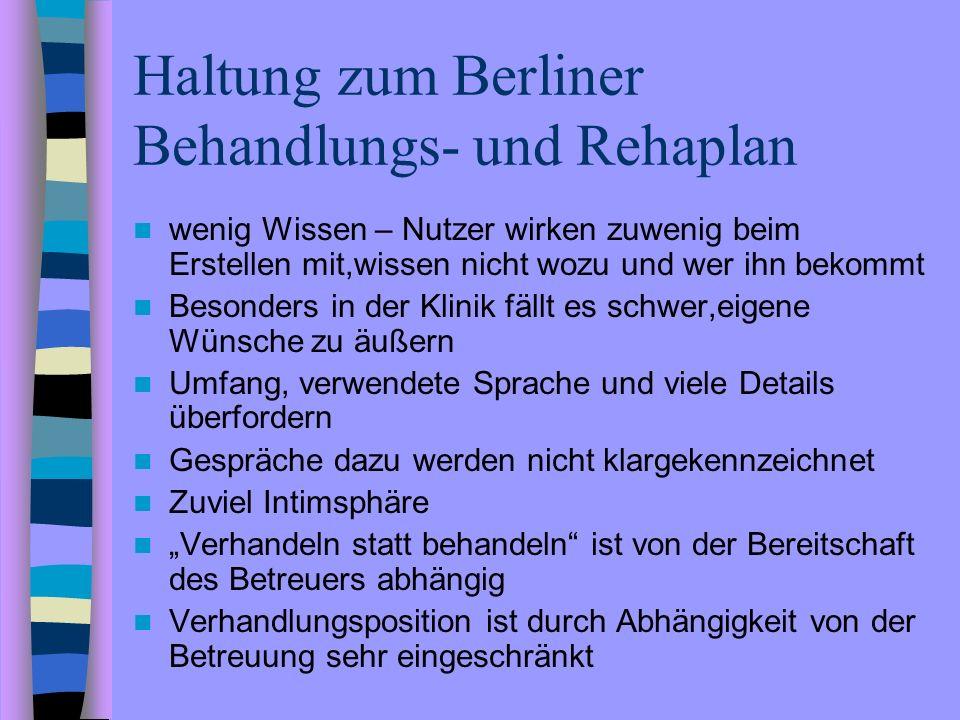 Haltung zum Berliner Behandlungs- und Rehaplan