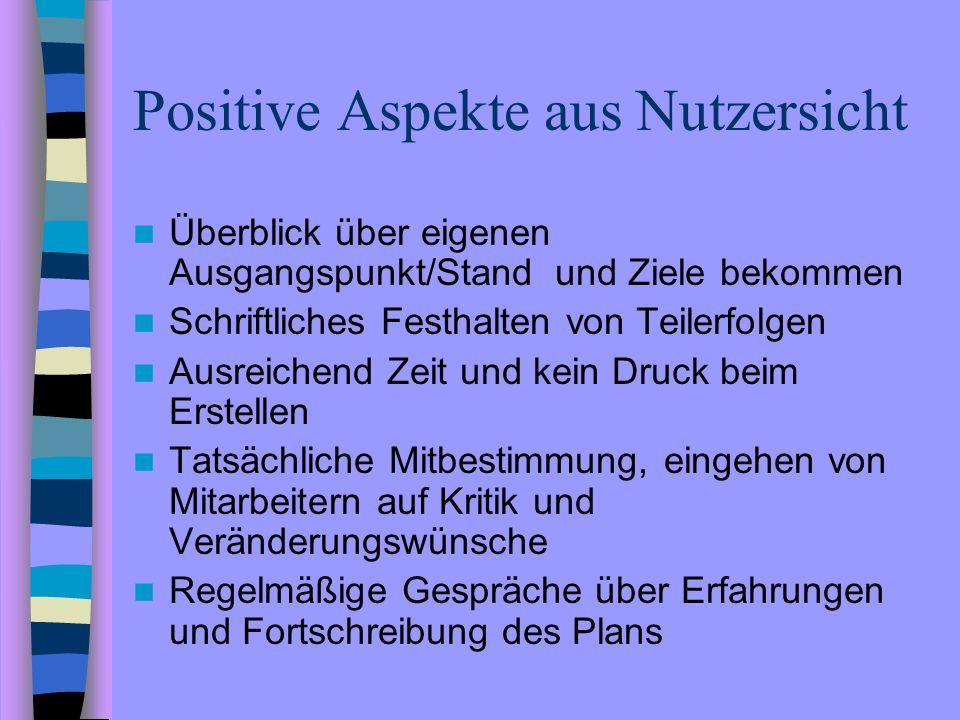 Positive Aspekte aus Nutzersicht