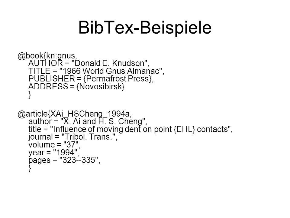 BibTex-Beispiele