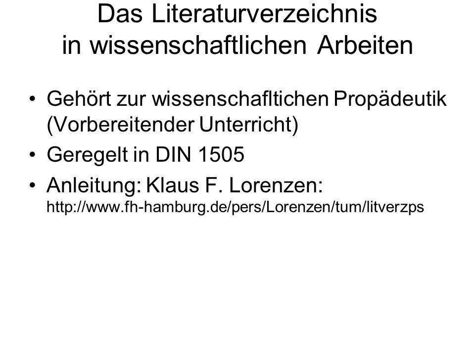 Das Literaturverzeichnis in wissenschaftlichen Arbeiten