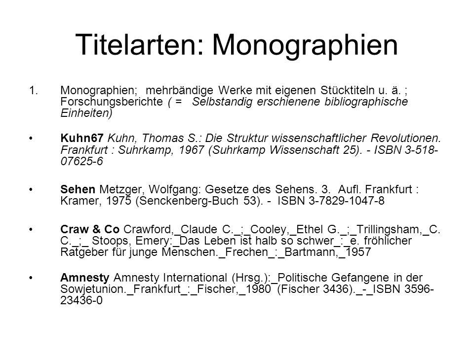 Titelarten: Monographien