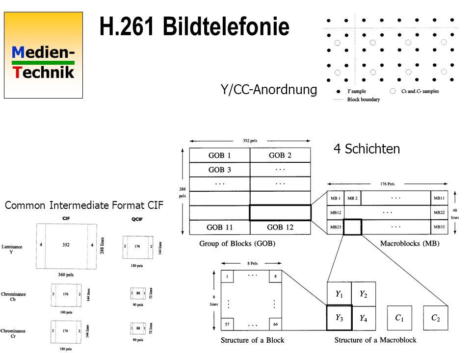 H.261 Bildtelefonie Y/CC-Anordnung 4 Schichten
