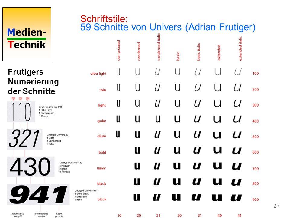 Schriftstile: 59 Schnitte von Univers (Adrian Frutiger)