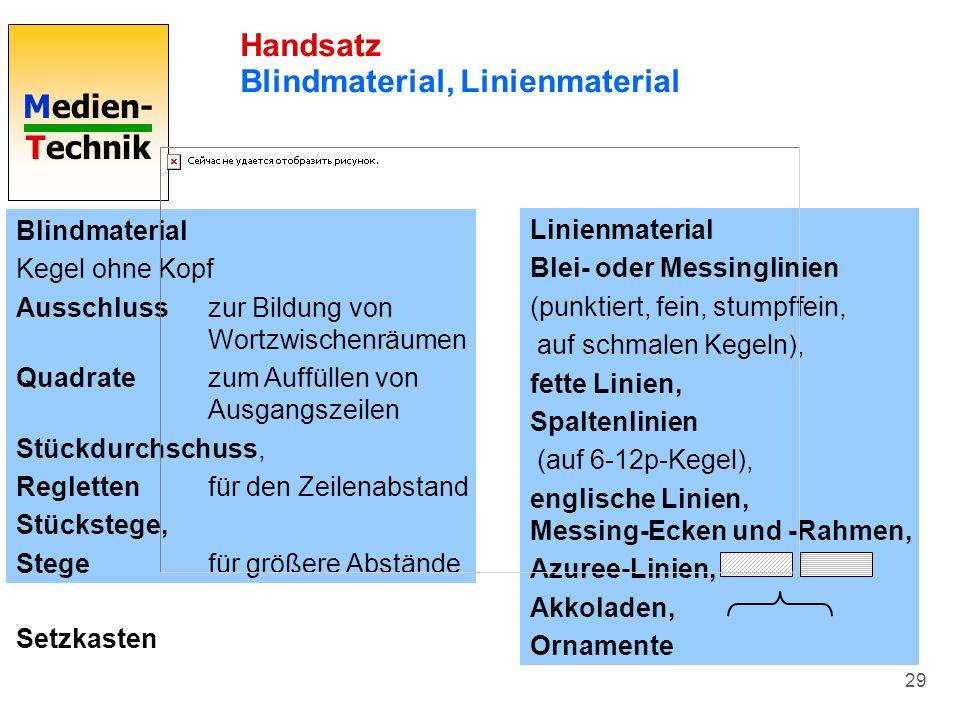 Handsatz Blindmaterial, Linienmaterial