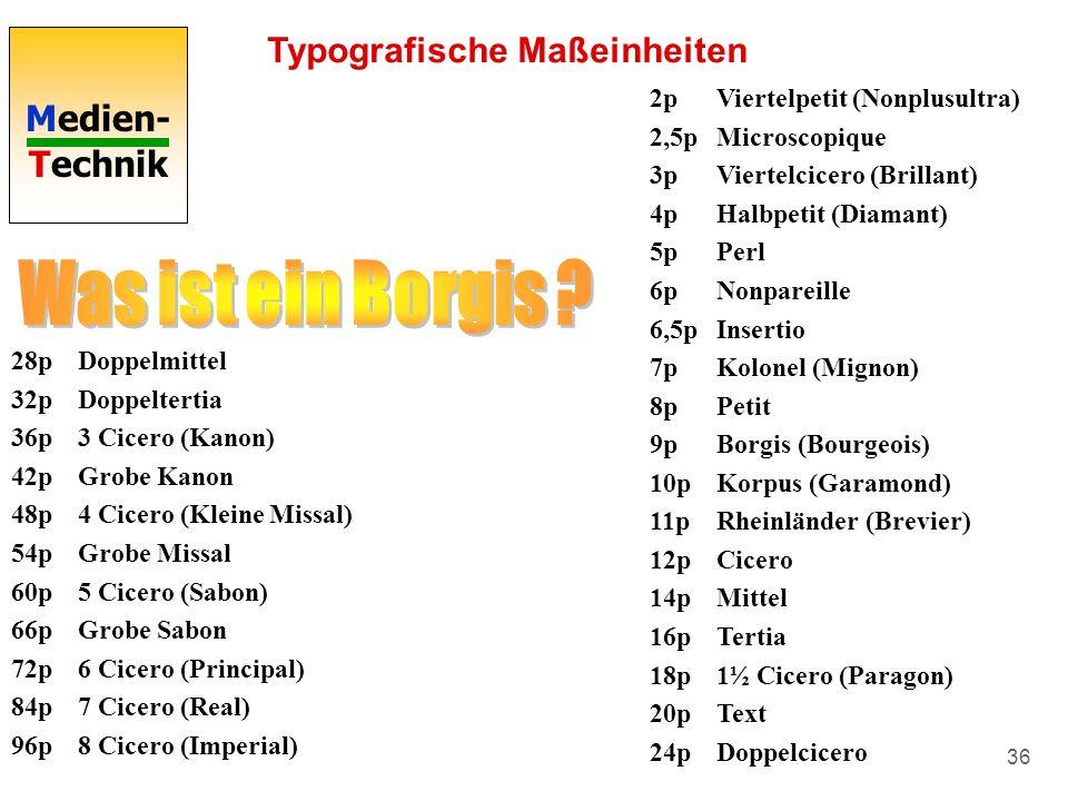Was ist ein Borgis Typografische Maßeinheiten