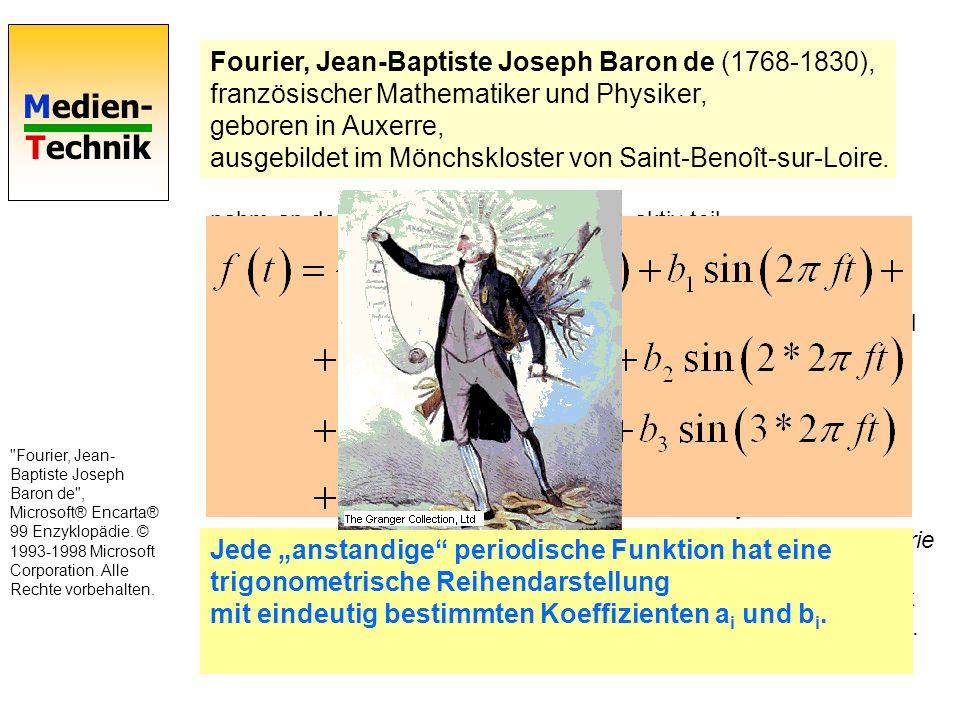 Fourier, Jean-Baptiste Joseph Baron de (1768-1830), französischer Mathematiker und Physiker, geboren in Auxerre, ausgebildet im Mönchskloster von Saint-Benoît-sur-Loire.