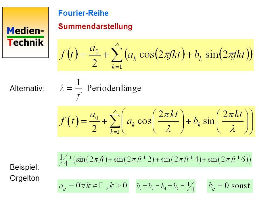 Fourier-Reihe Summendarstellung Alternativ: Beispiel: Orgelton