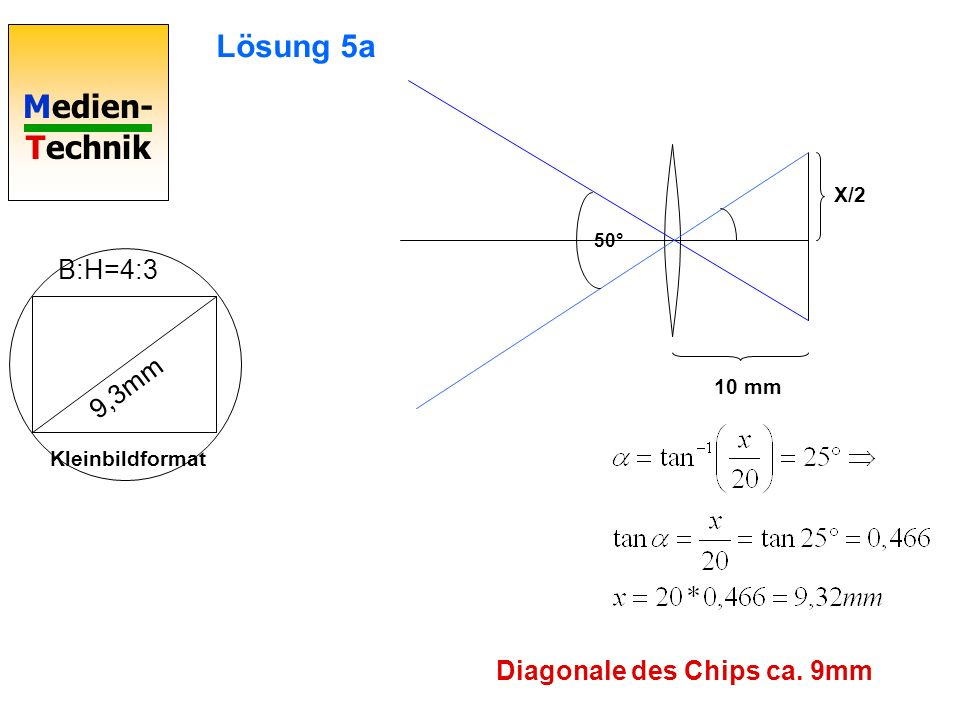 Lösung 5a B:H=4:3 9,3mm Diagonale des Chips ca. 9mm X/2 10 mm