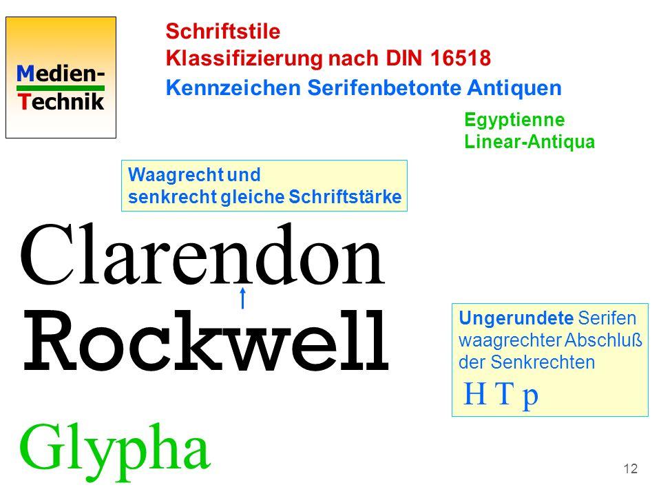 Clarendon Rockwell Glypha Schriftstile Klassifizierung nach DIN 16518