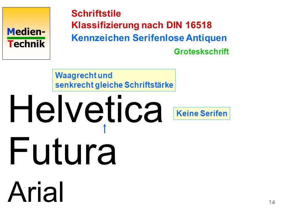 Helvetica Futura Arial Schriftstile Klassifizierung nach DIN 16518