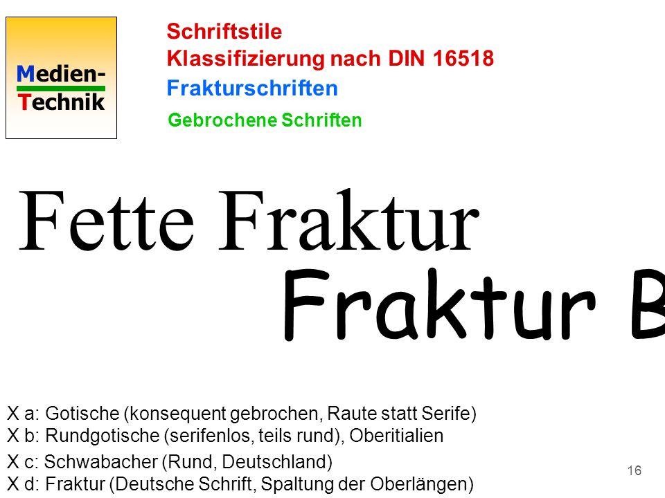 Fette Fraktur Fraktur BT Schriftstile Klassifizierung nach DIN 16518