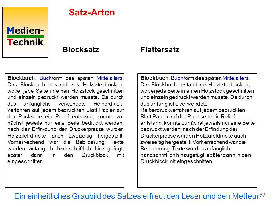 Satz-Arten Blocksatz Flattersatz