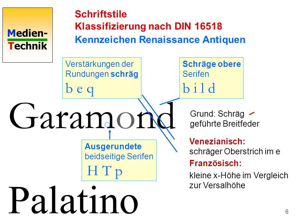 Garamond Palatino Schriftstile Klassifizierung nach DIN 16518