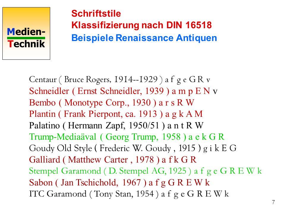 Schriftstile Klassifizierung nach DIN 16518