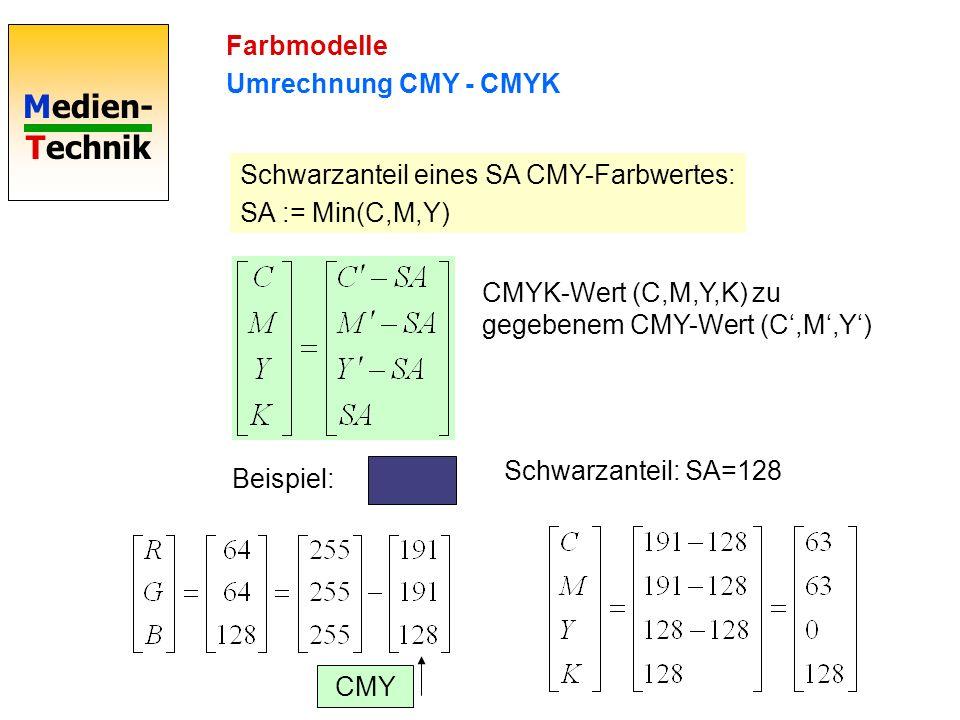 Farbmodelle Umrechnung CMY - CMYK. Schwarzanteil eines SA CMY-Farbwertes: SA := Min(C,M,Y) CMYK-Wert (C,M,Y,K) zu gegebenem CMY-Wert (C',M',Y')
