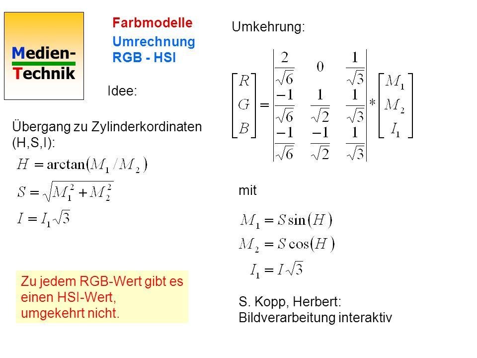 Farbmodelle Umrechnung RGB - HSI. Umkehrung: Idee: Übergang zu Zylinderkordinaten (H,S,I): mit.