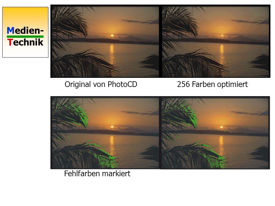 Original von PhotoCD 256 Farben optimiert Fehlfarben markiert