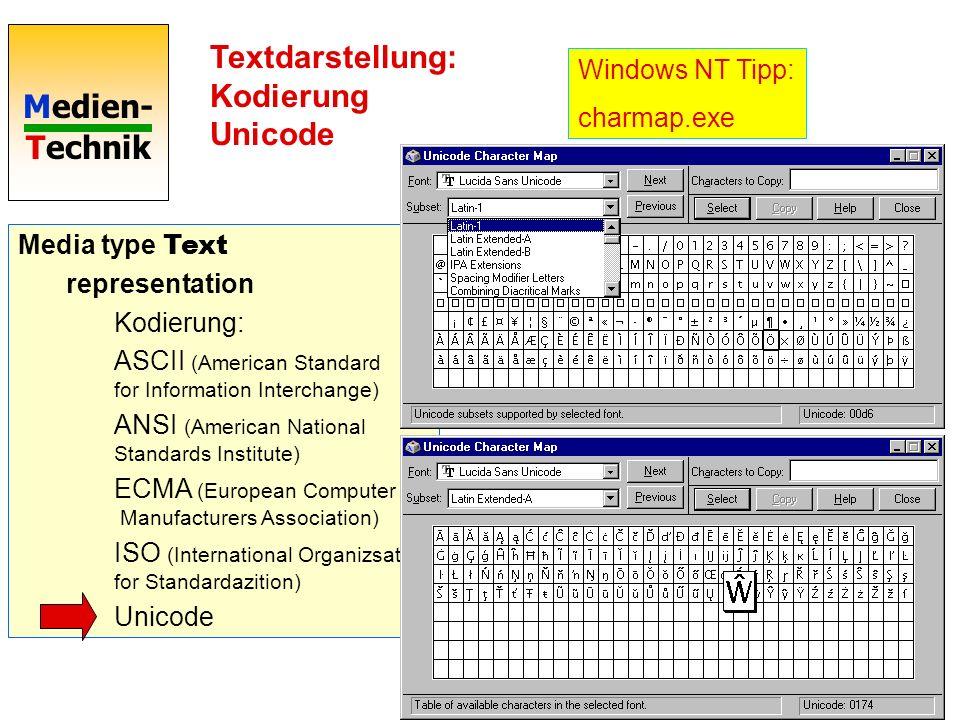 Textdarstellung: Kodierung Unicode
