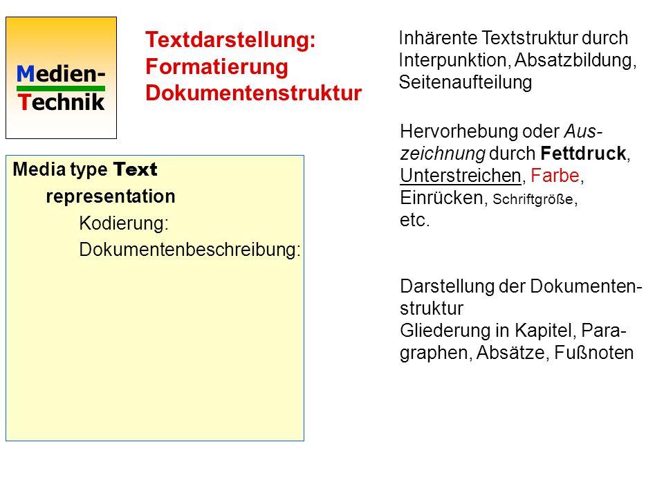 Textdarstellung: Formatierung Dokumentenstruktur