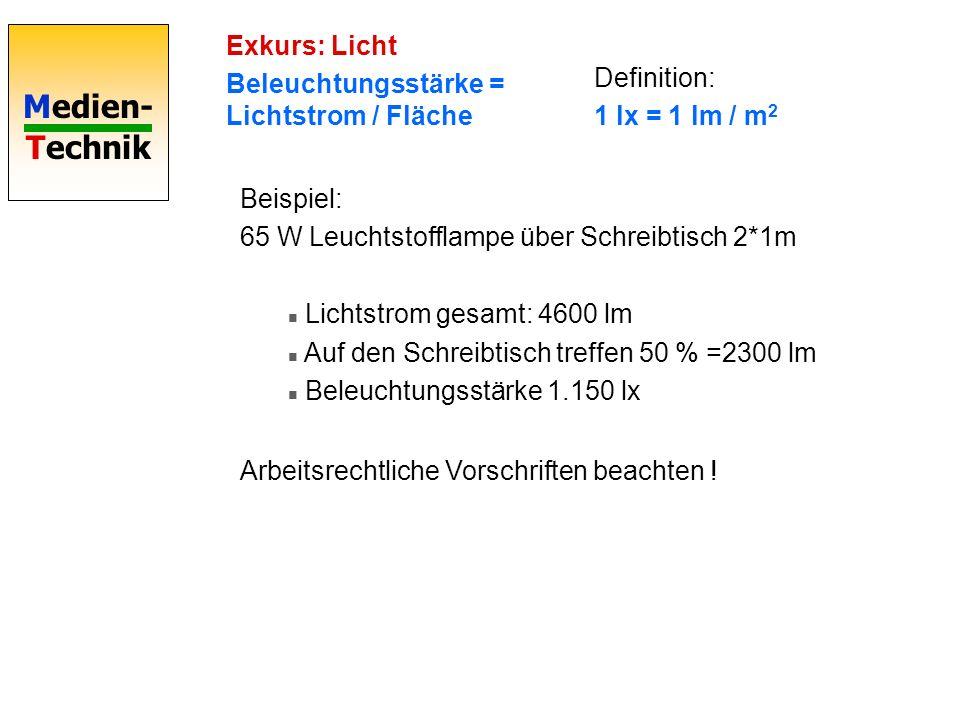 Exkurs: Licht Beleuchtungsstärke = Lichtstrom / Fläche. Definition: 1 lx = 1 lm / m2. Beispiel: 65 W Leuchtstofflampe über Schreibtisch 2*1m.