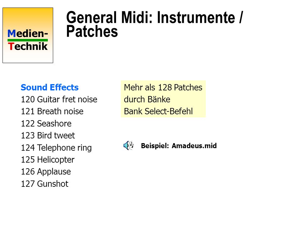General Midi: Instrumente / Patches