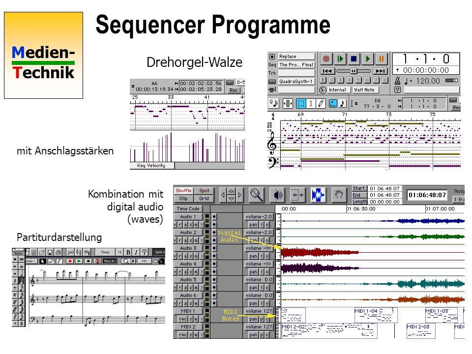 Sequencer Programme Drehorgel-Walze mit Anschlagsstärken