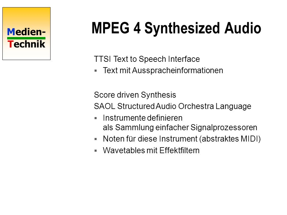 MPEG 4 Synthesized Audio