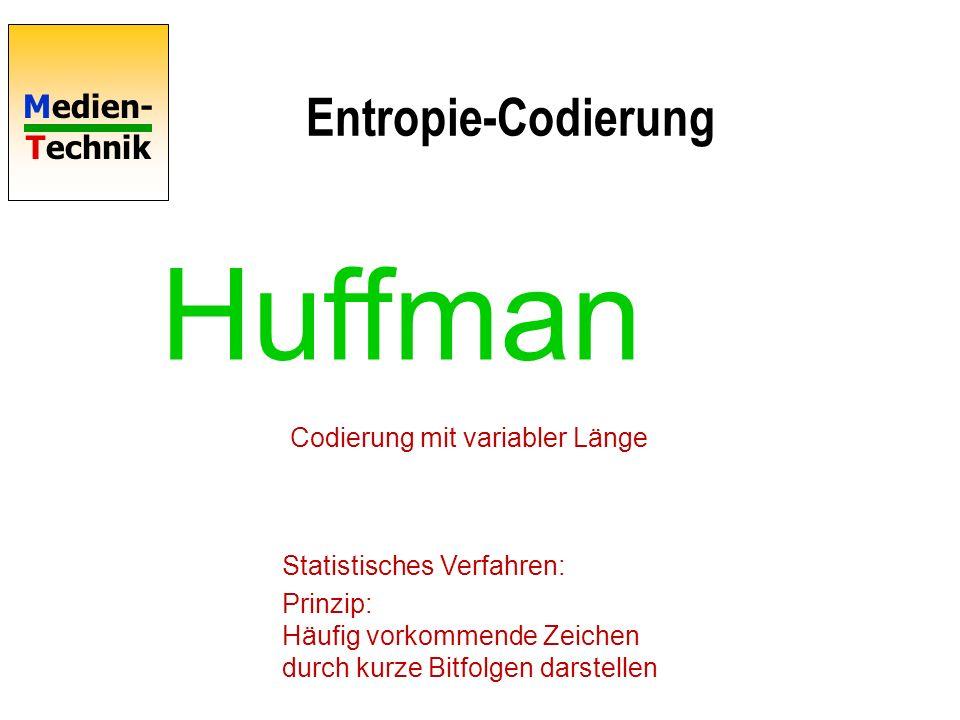 Huffman Entropie-Codierung Codierung mit variabler Länge