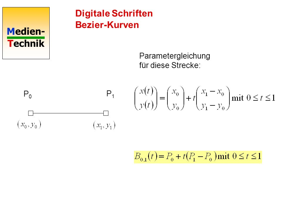 Digitale Schriften Bezier-Kurven