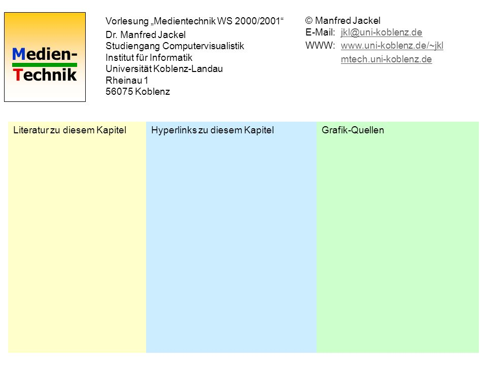"""Vorlesung """"Medientechnik WS 2000/2001"""