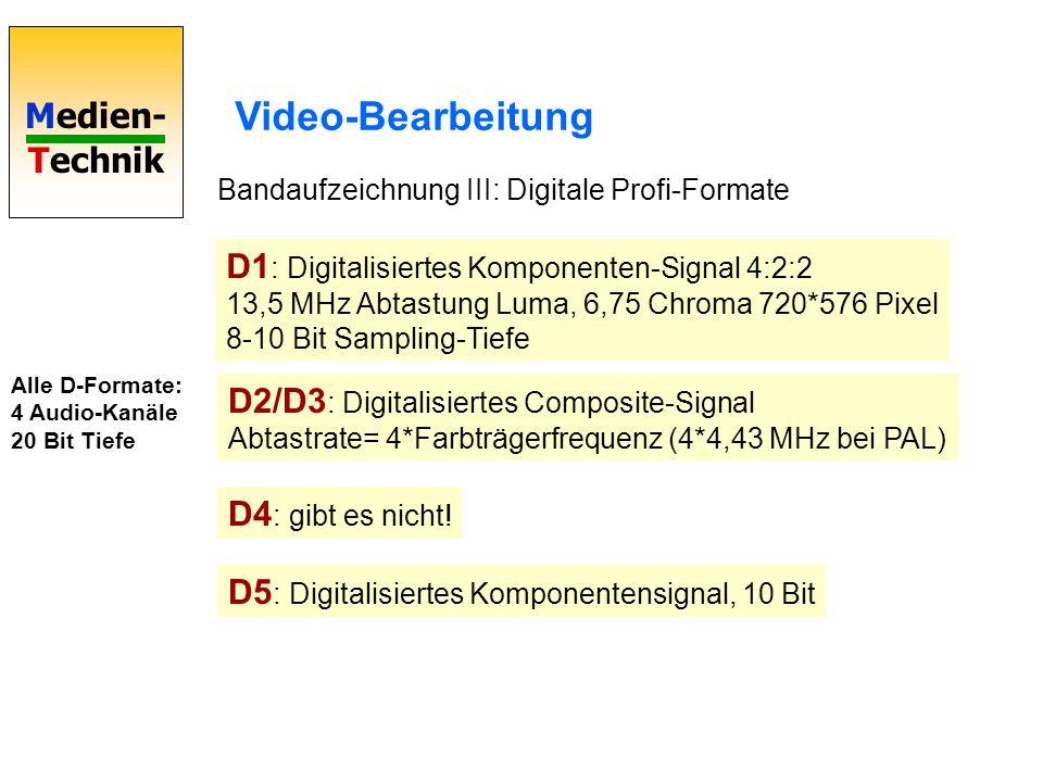 Video-Bearbeitung Bandaufzeichnung III: Digitale Profi-Formate.