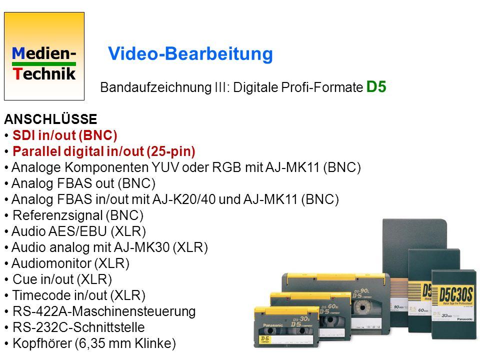 Video-Bearbeitung Bandaufzeichnung III: Digitale Profi-Formate D5