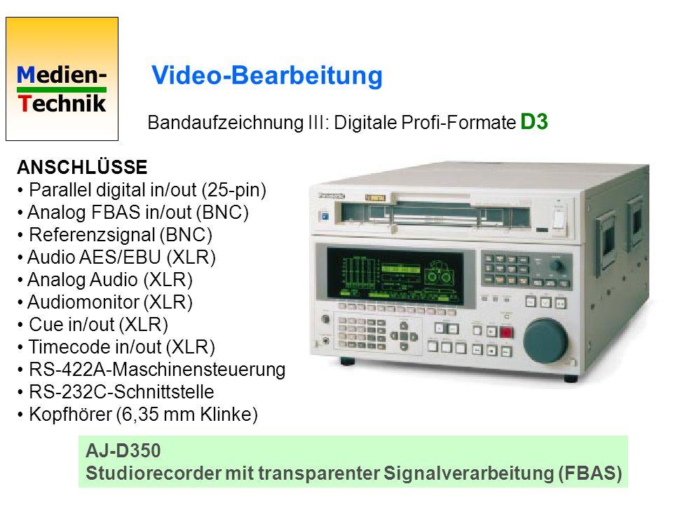 Video-Bearbeitung Bandaufzeichnung III: Digitale Profi-Formate D3