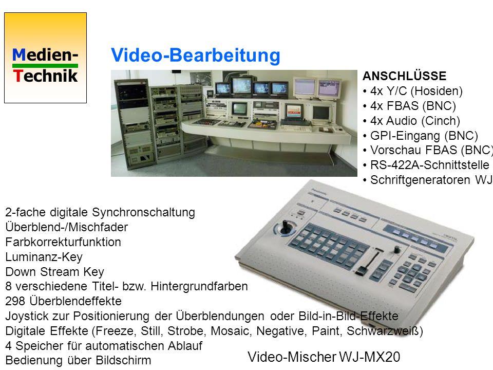 Video-Bearbeitung Video-Mischer WJ-MX20 ANSCHLÜSSE • 4x Y/C (Hosiden)