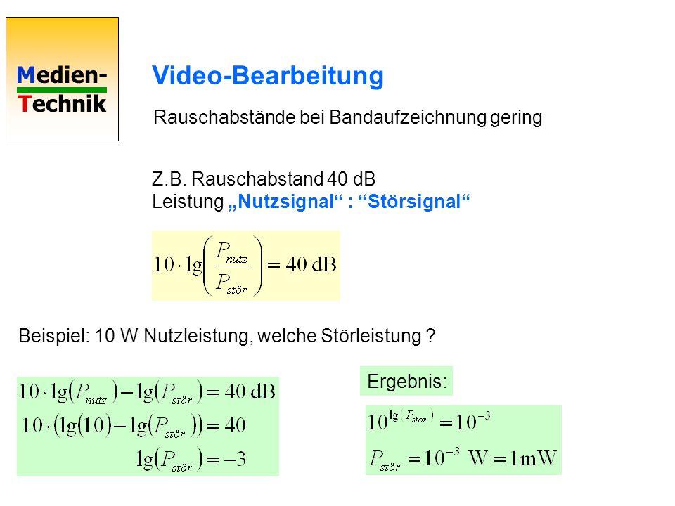 Video-Bearbeitung Rauschabstände bei Bandaufzeichnung gering