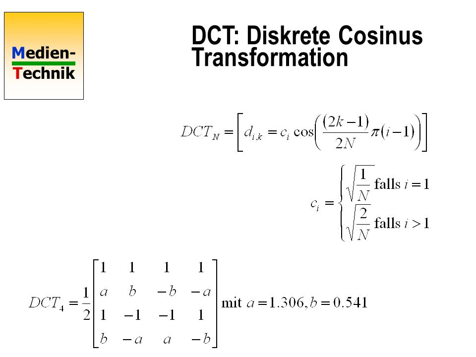 DCT: Diskrete Cosinus Transformation