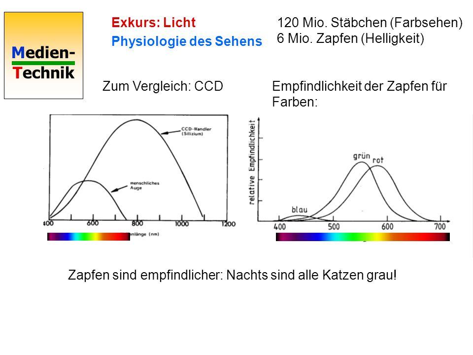 Exkurs: Licht Physiologie des Sehens. 120 Mio. Stäbchen (Farbsehen) 6 Mio. Zapfen (Helligkeit) Zum Vergleich: CCD.