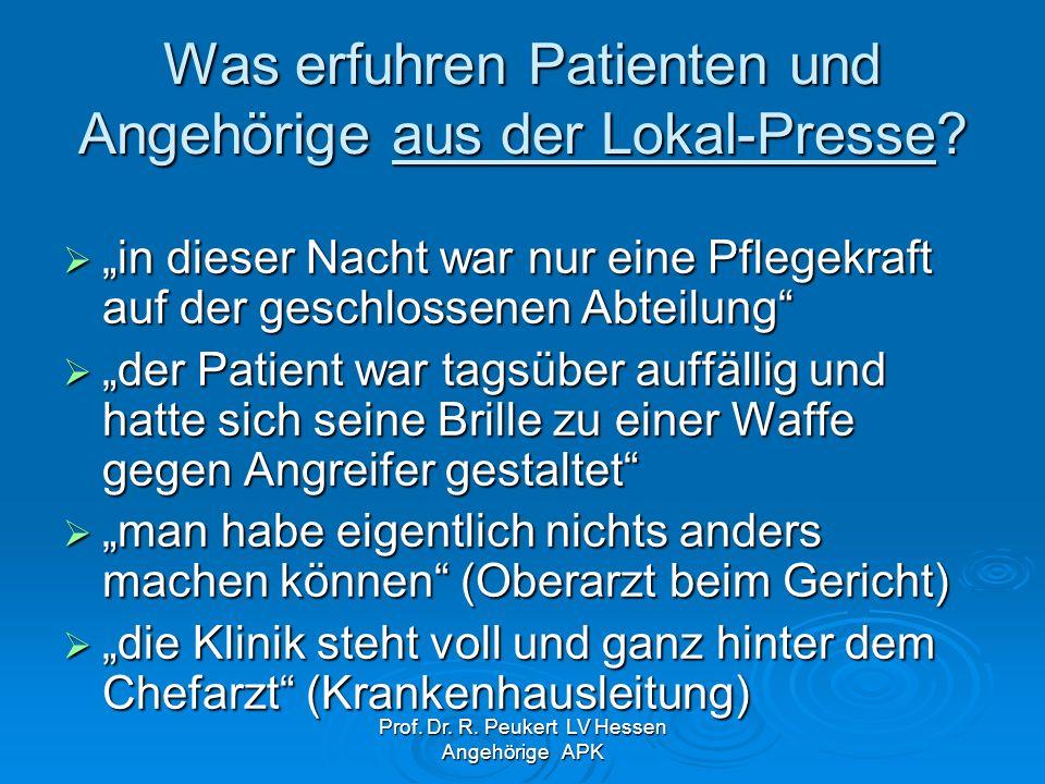 Was erfuhren Patienten und Angehörige aus der Lokal-Presse