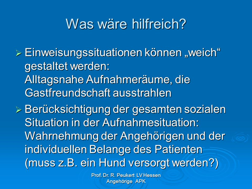 Prof. Dr. R. Peukert LV Hessen Angehörige APK