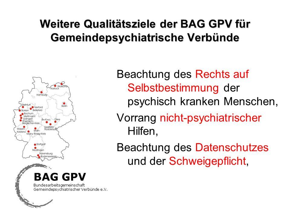 Weitere Qualitätsziele der BAG GPV für Gemeindepsychiatrische Verbünde