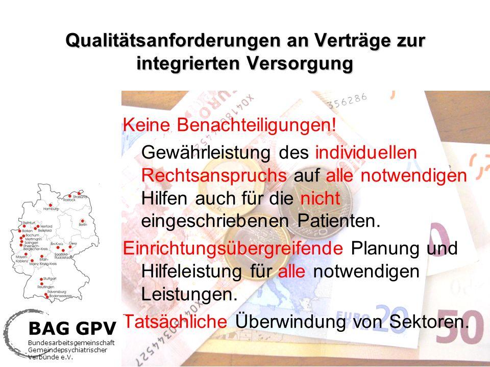 Qualitätsanforderungen an Verträge zur integrierten Versorgung